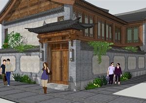 古建木屋小院子中式门头大木结构古典风格会所别墅庭院仿古大门
