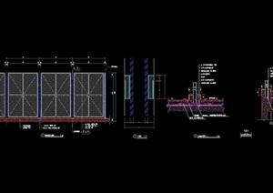 某网球场栏杆及地面设计cad施工图