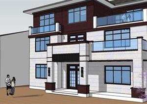 江西地区三层新新中式自建房项目,SU(草图大师)模型及建筑结构施工图文件