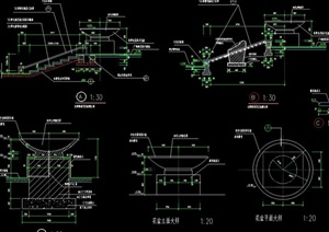 园林景观详细的花钵素材设计cad施工图