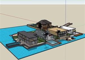 五种不同的详细别墅建筑设计SU(草图大师)模型