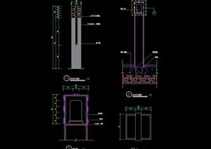 现代园林景观灯柱cad施工图