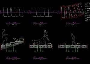 某三种台阶素材cad施工图