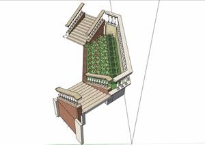 樓梯欄桿種植池設計SU(草圖大師)模型