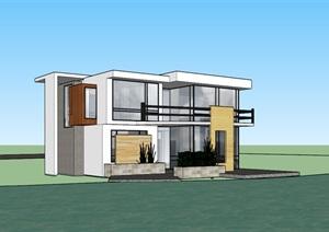 现代主义风格别墅设计SU(草图大师)模型