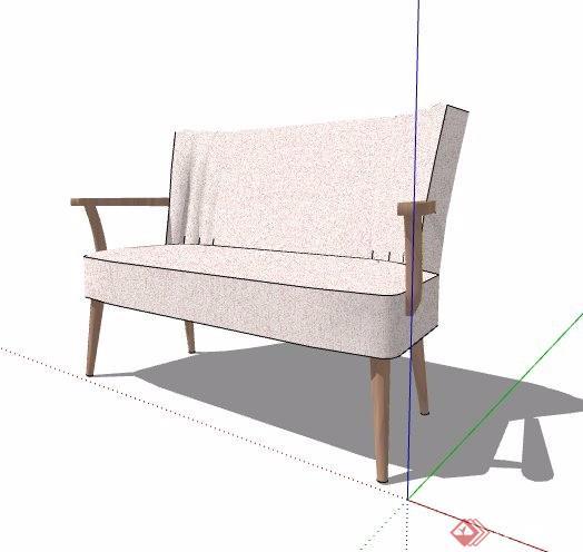 单人沙发椅及双人沙发su模型