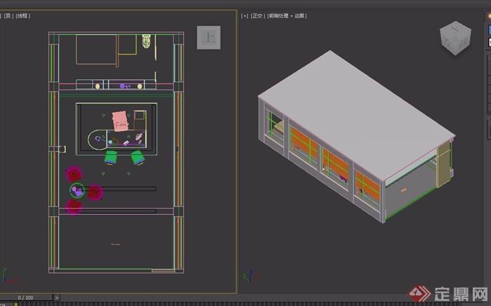 某详细的完整室内办公室设计3d模型