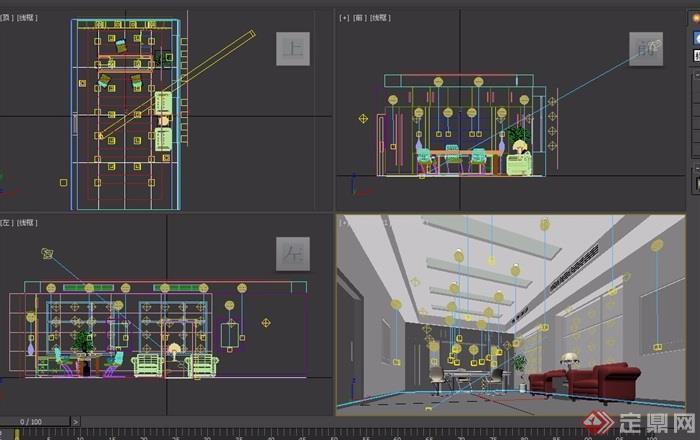 某整体详细室内办公室设计3d模型