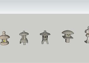 5款日式石燈籠SU(草圖大師)模型