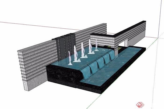 中式水池景墙素材设计su模型