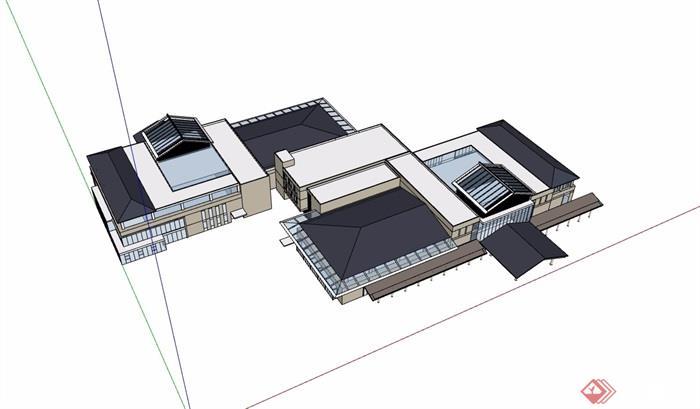 现代风格详细的多层会所酒店设计su模型