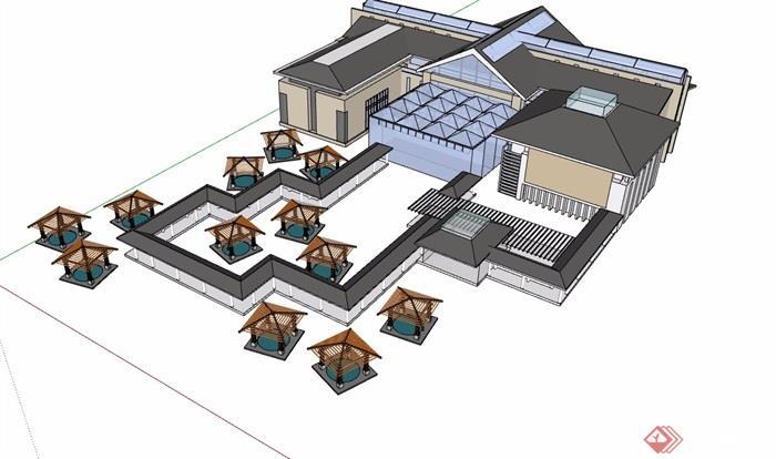 中式多层酒店素材设计su模型