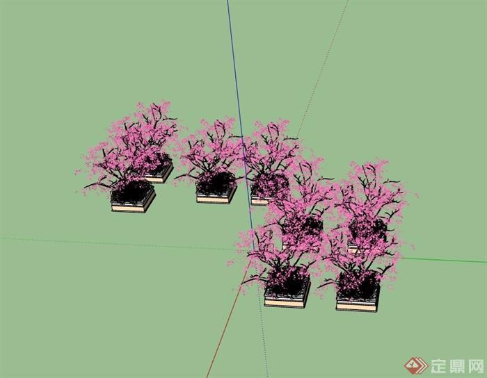 详细的完整树池素材su模型