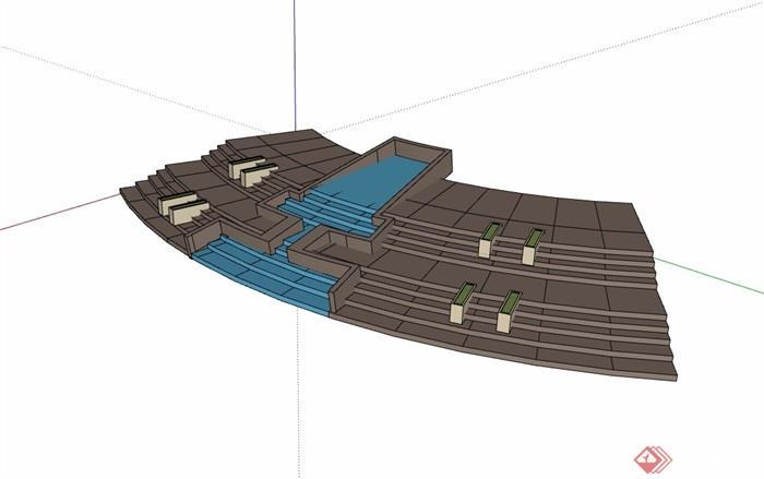 园林景观详细的台阶及水池设计su模型